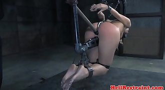 Anal invasion hooked restrained sub whipped by maledom