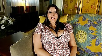 Beautiful chesty BBW brunette talks dirty and fucks her fat juicy vagina